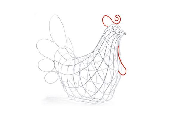 Cestino sagomato gallina SELETTI Fantastico Domestico, in metallo verniciato con dettagli fluo